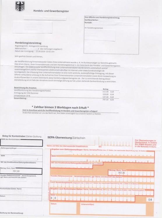 Handelsregistereintrag Dubiosen Zahlungsaufforderungen
